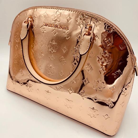 Michael Kors Handbags - Michael Kors Emmy Large Dome Satchel In Rose Gold